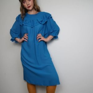 Vintage 80's teal blue ruffled midi dress